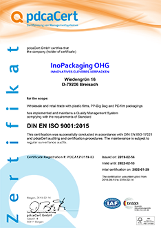 Certificate of the standard DIN EN ISO 9001:2015